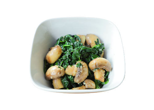 GARLIC SPINACH & BUTTON MUSHROOM